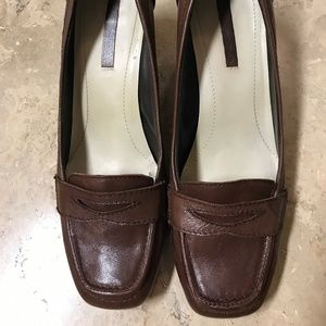 Brown Leather Heeled Loafers Size 10